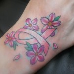 Breast Cancer Tattoo on Foot