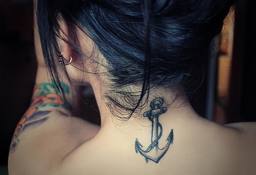 back anchor tattoos girl New Trends for Back of Neck Tattoo Ideas