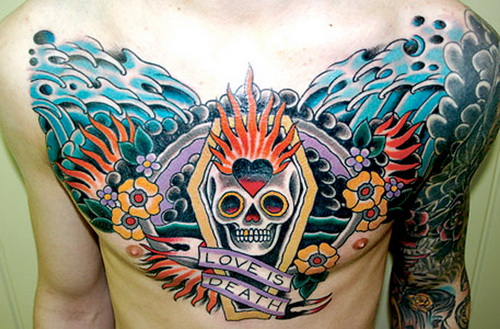colored male chest tattoo Masculine Chest Tattoos for Men