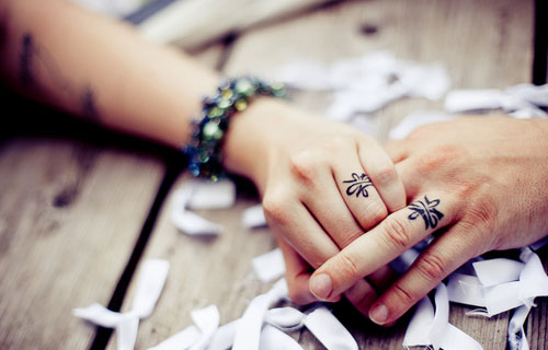 couple ring tattoos finger Ring Finger Tattoos for Couples