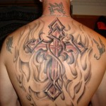 Cross Tattoos for Upper Back