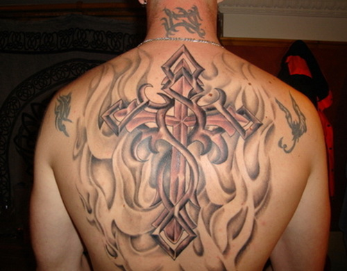 cross tattoos for upper back Back Tattoos Ideas For Men