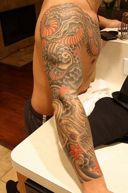 dragon sleeve tattoo for men Dragon Sleeve Tattoos for Men