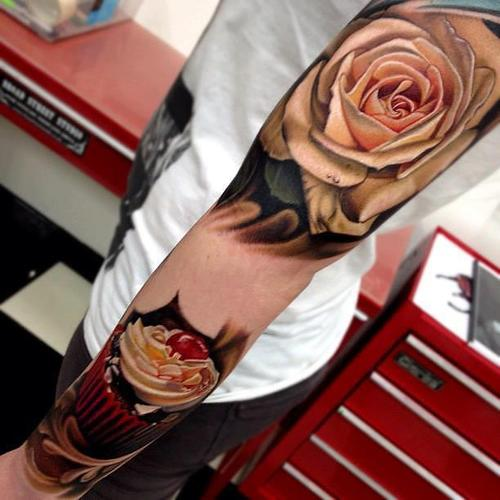 flower 3d tattoos arm Arm Tattoo Designs