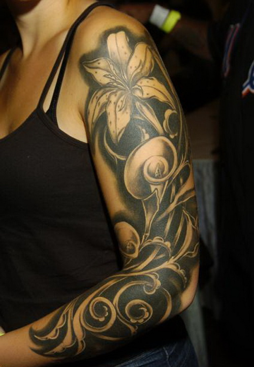 Flower Sleeve Tattoo Black