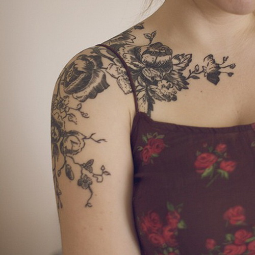 girls flower sleeve tattoos Floral Sleeve Tattoos