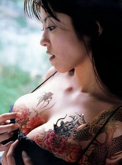 japanese tattoos on breast Tattooed Breasts for Girls