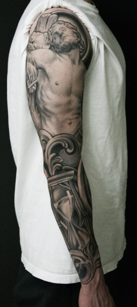 Jesus arm sleeve tattoos for Forearm tattoo sleeves