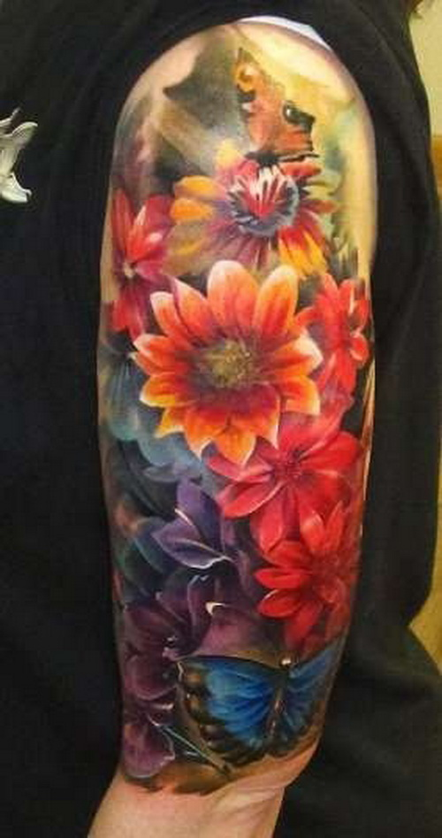 paint flowers tattoos Floral Sleeve Tattoos