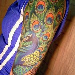 Peacock Tattoo on Arm Sleeve