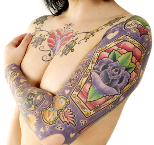 sexy purple tattoos for sleeve Odd Girl Sleeve Tattoos