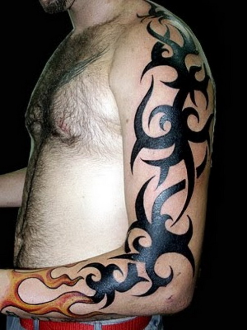 Tribal Full Arm Tattoo