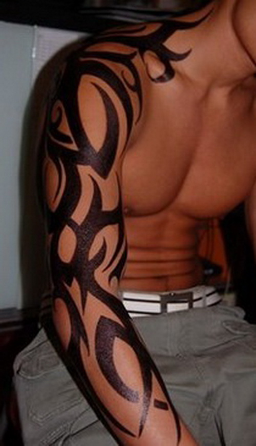 Tribal Dragon Sleeve Tattoo