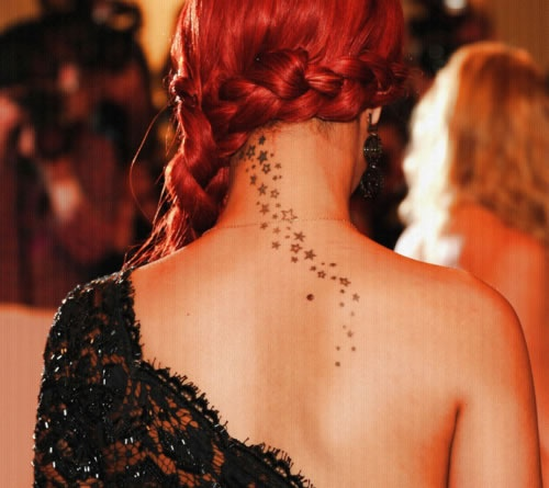 Rihanna Back Neck Stars Tattoo New Trends for Back of Neck Tattoo Ideas